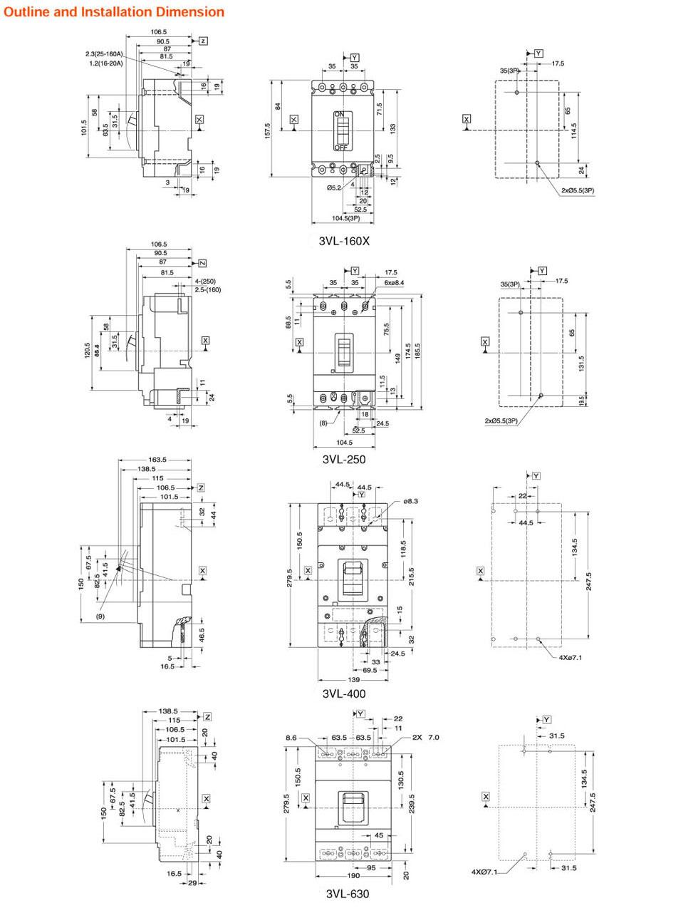 3vl disjuntores em caixa moldada 160a 250a 400a 630a