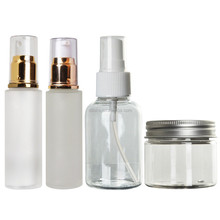 acrylic cosmetic packaging airless bottle and cream jar with wood spray