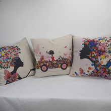 New design printed wholesale decorative throw pillow covers with linen/cotton fabric