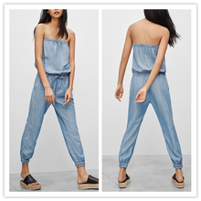 Alibaba Online Store Korean Fashion Strapless Elastic Soft Washing Denim Jumpsuit Rompers Womens Apparel NT6352