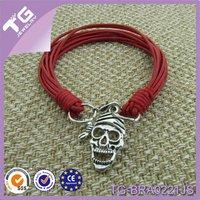Newest Promotional 2014 Simple Style CrossBones Pendant Braid Handmade Fashion Jewelry Real Leather Bracelet