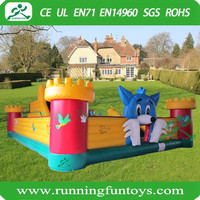 Blue Cat Outdoor Inflatable Playground, Hot Sale Amusement Park Inflated Fun City