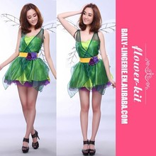 Halloween costume fairy costume Forest green elf Dress + wings +belt Flower Fairy cosplay Costumes