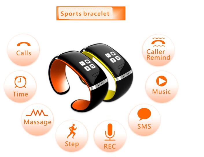 Inteligente Wristband L12S OLED Pulsera Inteligente Bluetooth Reloj de Pulsera de Diseño para IOS y andirod