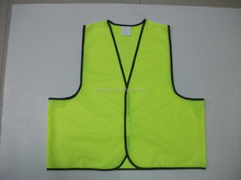 Fluorescent Yellow Simple Style Knitting Traffic Warning Security Vest Without High Reflective Strips Made In China