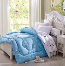 Hot design cheap bright blue warm micro winter patchwork quilts from china