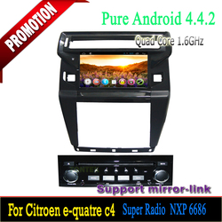 8 inch Android 4.4 Car dvd with can bus Capacitive multi-touch screen dvd player Quad core for Citroen New C4 2012