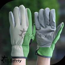 2014 Ladies new leather palm knit back driving gloves