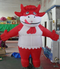 220cm advertising inflatable cow/animal/cartoon costume model with white apron/walking cow costume inflatable W441