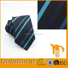 Navy Blue Stripe Woven Necktie for Men