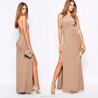 Wholesale Women Clothing Stylish Women Maxi Dress High Neck Bodycon Fit Slinky Side Split Sexy Maxi Dress