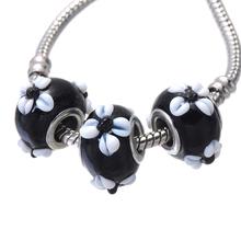 murano glass beads fancy european charm silver snake chain european flower bead bracelet