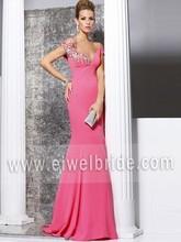 S110 Sexy V-Neck Floor-Length Chiffon Evening Dress Peach Color