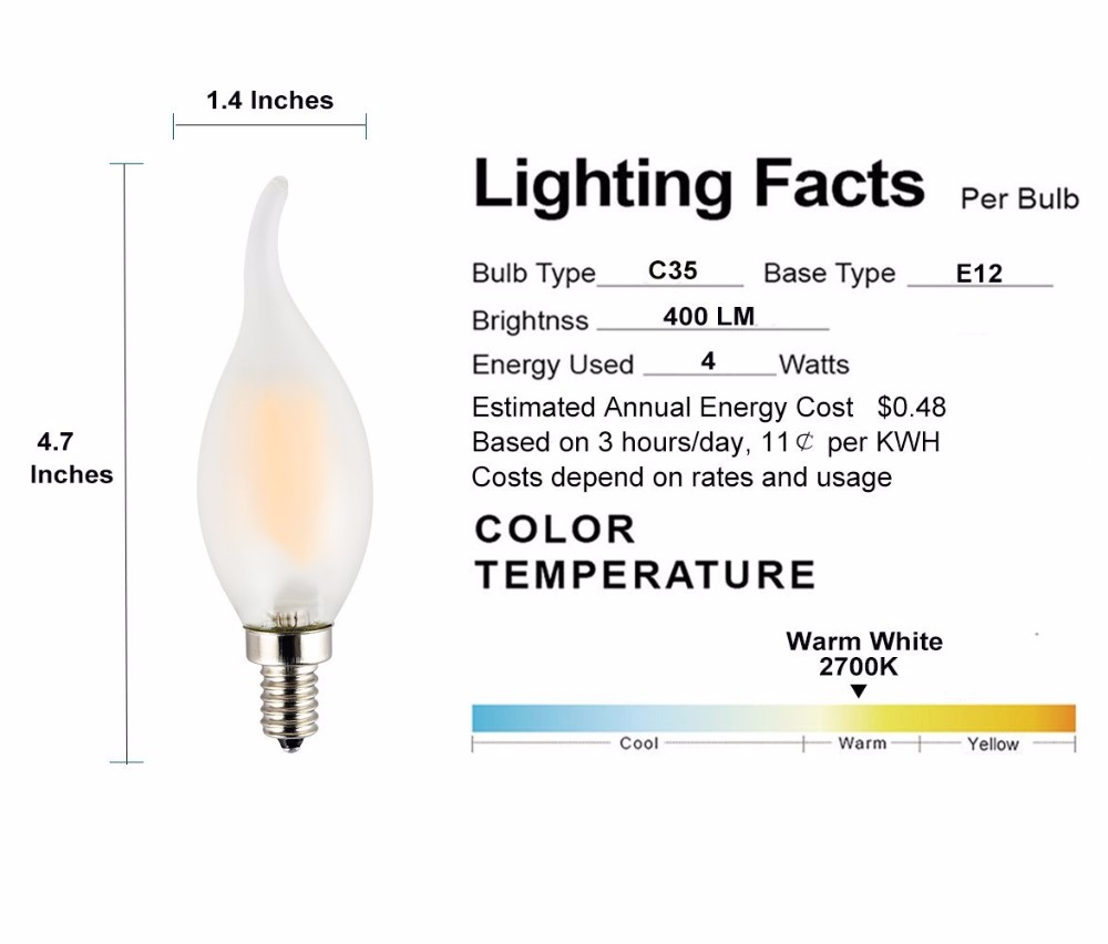 360 Degree C35 C32 B10 E12 E14 Ce Rohs Led Filament Bulbwarm White Short Circuit Light Bulb Technical Features Dimmableled Candlee26 Medium Baseac 110v 130vwith Overload Protectionshort Protection And Over Temperature