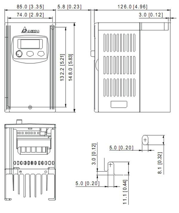 VFD007S43A Dimensions