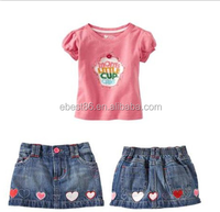 2015 Hot Sale!Sexy Lovely Girl's Cowboy Dress+T-shirt 2pcs Baby Girl Cloth Set 1-6T