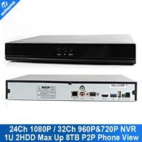 Mobile NVR 24Ch NVR 1080P Or 32Ch 960P Or 16CH 3MM Or 8Ch 5MP With P2P Onvif NVR Max 8TB P2P View