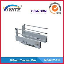 Soft Closing 189mm Metal Box Wardrobe Tandem Box Drawer Slides