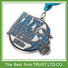 Custom made cheap silver metal sport medal with glitter and ribbon necklace