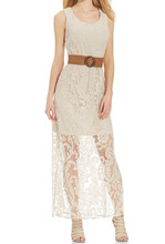 Elegant Sleeveless Bodycon Mini Lining Crochet Lace Overlay Maxi Dress Casual with Belt