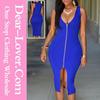 Royal Blue Zipper Front Plunge 2015 Pakistani New Style Dresses