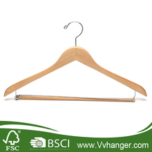 LH078 Wooden Suit Hangers with Locking pants bar, Chromed hook