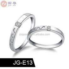 Platinum Plated Rhinestone Water Prints Couple Rings