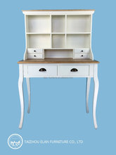 wooden bookcase attached study table set design solid wood furniture