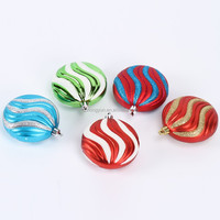 hot sale custom colored outdoor hanging flat christmas ball ornament