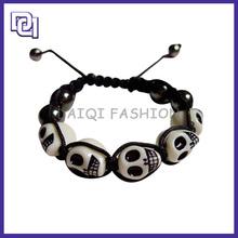 Hot Sale Halloween Skeleton Decoration,Cool Skull Resin Skull Heads Bracelet For Party,handmade popular bracelet for halloween