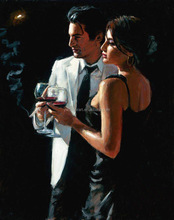 Famous Man and Woman in the bar Oil Painting