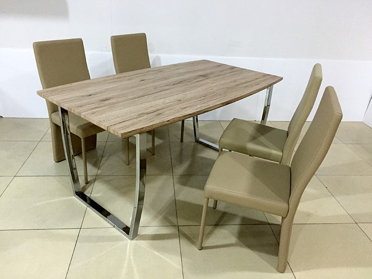 Mdf Wooden Top Coffee Dining Table DT1251 With Dining Chairs DC4718