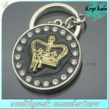 2013 New design keyring starfish custom metal gold crown keychain for cheap
