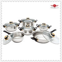 Belly Shape With Bakelite Handle Hot Selling 12PC Stainless Steel Cookware Set