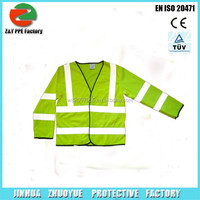 High Visibility 100% Polyester green Reflective Safety coat