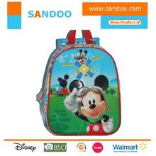 Cartoon cute brand mouse kids school bag with wheels, kids trolley school bag
