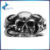 spikes stainless steel class military skull rings for men