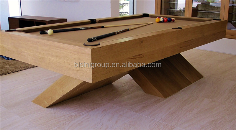 Special Design Natural Wood Color 9ft Slate Billiard Table