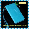 New arrived blue color Genunine leather wallet case for iphone 6 plus leather case