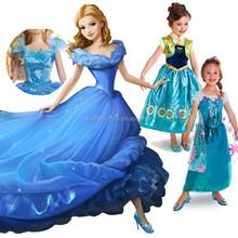 2015 nueva princesa cenicienta blancanieves vestidos para niñas frozen elsa vestido QKC-2624