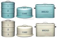 Kitchen Craft Living Nostalgia Painted Metal 3 Tier Cake Bread Loaf Bin Tin Jar