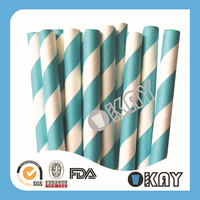 Light Blue Stripes Paper Straws Decoration For Party