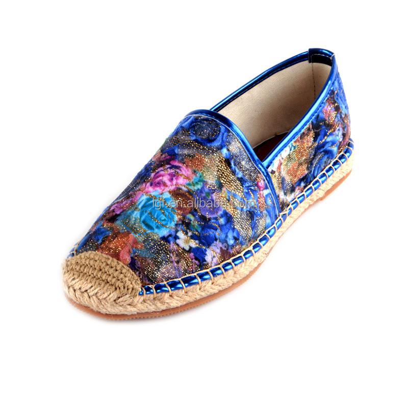 Zapatos alpargatas fabrica señora custom canvas y alpargatas de yute