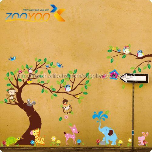 2015 Zooyoo nouveau amovible pvc dessin animé animaux forêts ...