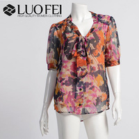 women high end half sleeve chiffon bright floral patterned colorful blouse for spring