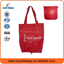 Convenient foldable shopping roll up tote bag with snap closure