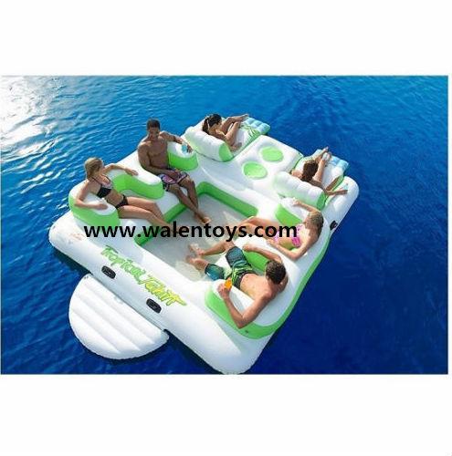 6 personne gonflable le flottante piscine chaise de l 39 eau du lac coussin - Ile gonflable piscine ...