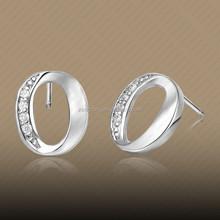 Cheap 1 dollor Zirconia Hollow Hoop Stud Earrings for Girls