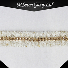 Wholesale 2.5cm wide white woven tape, golden color metal chain trimming, New gold chain design for garment