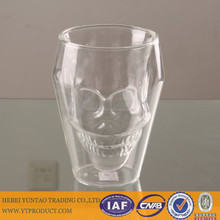 Beautiful double wall skull shaped glass tea cup and saucer